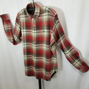Ralph Lauren Red flannel button down shirt with green polo logo